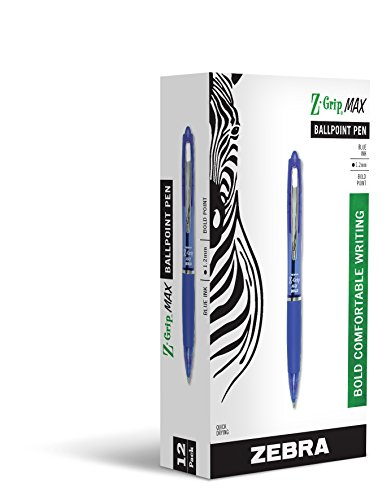 Zebra Z-Grip MAX Ballpoint Retractable Pen, Blue Ink, Bold Point, Dozen, DZ - ZEB20520 - Large Retractable Pen