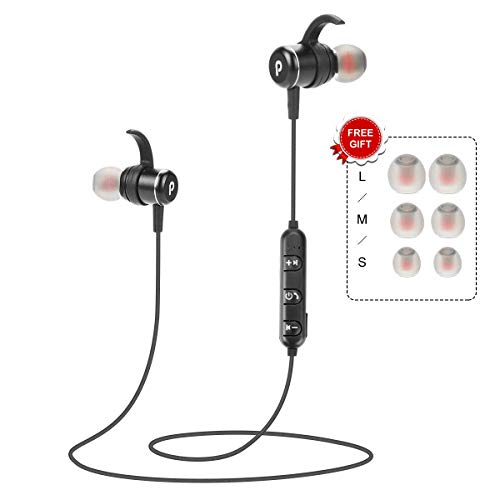 Wireless Bluetooth Headphones Magnetic Earbuds Sweatproof Headphones Noise Cancelling HiFi Stereo in-Ear Earphones w/Mic Headsets for Running Workout Gym Sports Secure Fit- 2019 Upgraded (Best Gym Headphones 2019)