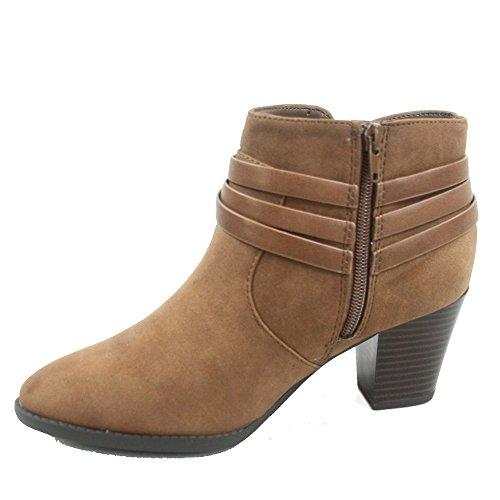 City Classified Cityclassified Dian-s Womens Fashion Almond Toe Straps Western Chunky Heel Boots Shoes Brown pDDMZVNZb