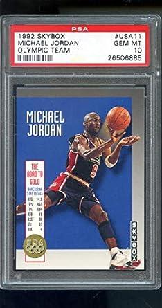 479ac36517a96 Amazon.com: 1992-93 Skybox Olympic Team #USA11 Michael Jordan PSA 10 ...