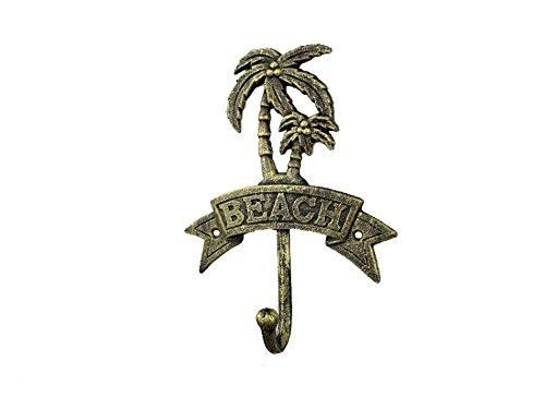 Rustic Gold Cast Iron Palm Tree Beach Hook 8