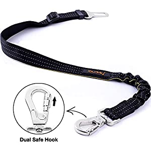 iBuddy Dog Seat Belts for Cars of Small/Medium/Large Dogs,Adjustable Pet Seat Belt for Dog Harness with Dual Safe Bolt Hook and Elastic Durable Nylon Dog Safety Belt for Car 3