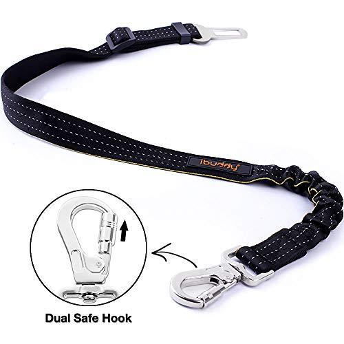 (iBuddy Dog Seat Belt Harness for Cars of Medium/Large Dogs, Adjustable Pet Seat Belt for Dog Harness with Dual Safe Bolt Hook and Elastic Durable Nylon Dog Safety Belt for Car)