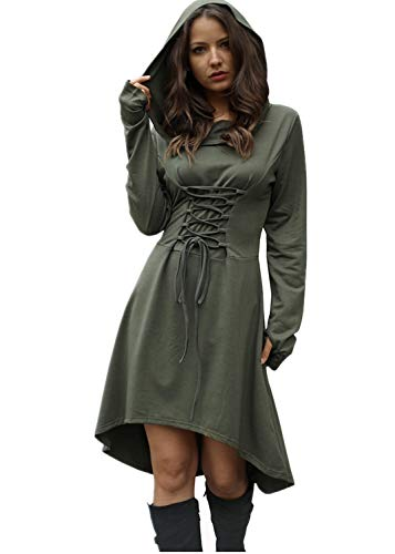 Hooded Renaissance Dress (Jeanewpole1 Womens Halloween Wizard Costumes Hooded Robe Lace Up High Low Hem Long Hoodie Dress (Medium, Army)
