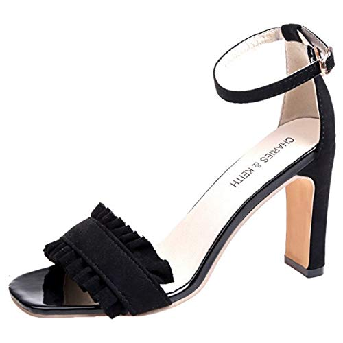 Heels De Mujer Tobillo Moda 2 Correa Negro Sandalias Coolcept wSU6ZxqOx