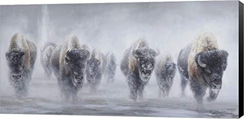 (Giants in The Mist II by James Corwin Fine Art Canvas Art Wall Picture, Museum Wrapped with Black Sides, 24 x 12 inches)
