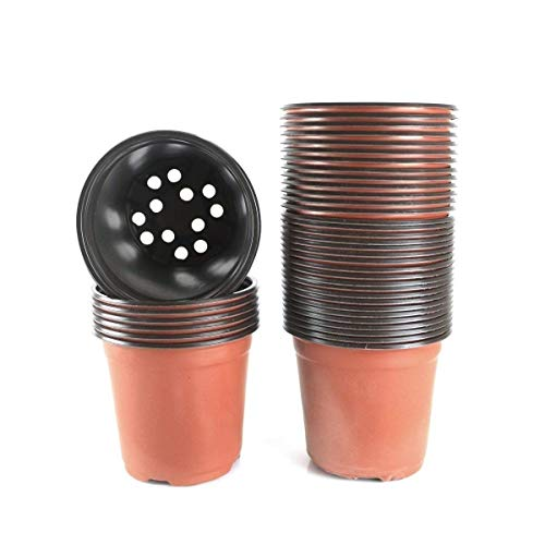 Bluecho 50 Pcs 6 Inch Plastic Plants Starter Seedlings Pots Flowers Container Seed Starting Pot Garden Planter Nursery Pots