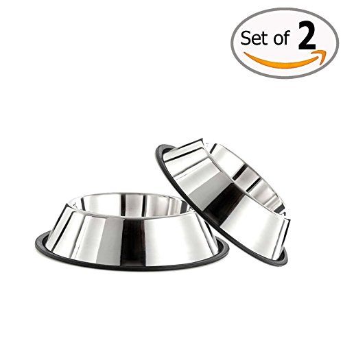 Doggie Dish (GPET Dog Bowl with Rubber Base, Stainless Steel 32 Ounce (Set of 2))