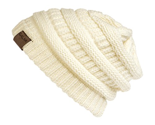 - Galiva Women's Acrylic Warm Winter Beanie Hat, off white, One Size