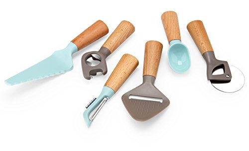 Gmark Gifts for Her Kitchen Gadgets Set - Cheese Slicer, Ice Cream Scoop, Pizza Cutter, Swivel Peeler, Multi-Opener, Cutter & Lifter; 6 Piece Kitchen Gadgets Tools Set Beech Wood Handle (6 Piece Kitchen Gadget)