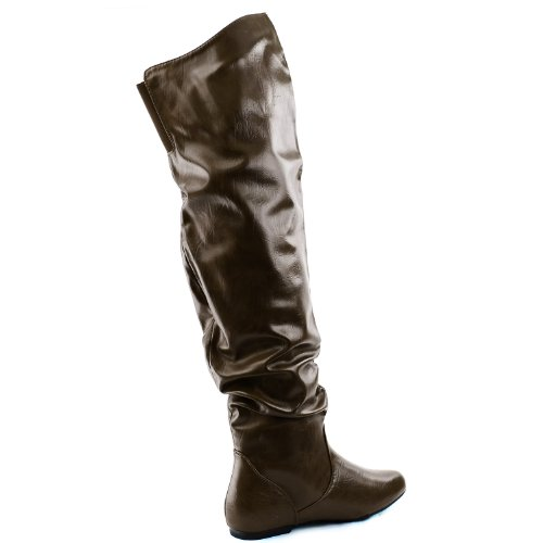 DailyShoes Damenmode-Hi Over-the-Knee Oberschenkel Hohe flache Slouchly Welle Low Heel Stiefel Brauner Pu