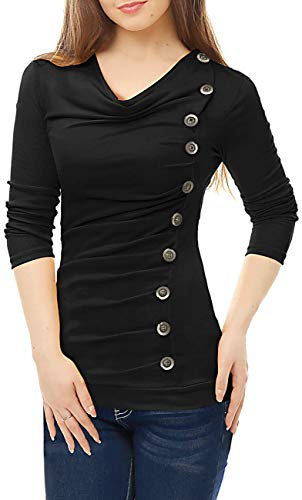 Yiershu Women Casual Business Blouse Elegant Cowl Neck Long Sleeve Tunic Ruched Tops Tee Work Shirt Buttons Decor Slim Fit Black