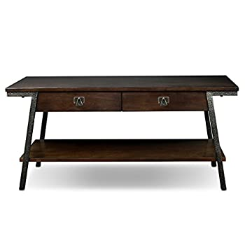 Leick 11404 Empiria Modern Industrial Two Drawer Coffee Table - Walnut