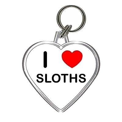 I Love Heart Sloths - Heart Shaped Key Ring -