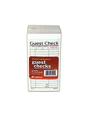 2-Part Carbonless Guest Check - 50 checks/book - 10 pk. (Case Pack of 2) (Guest Carbonless Checks 2 Part)