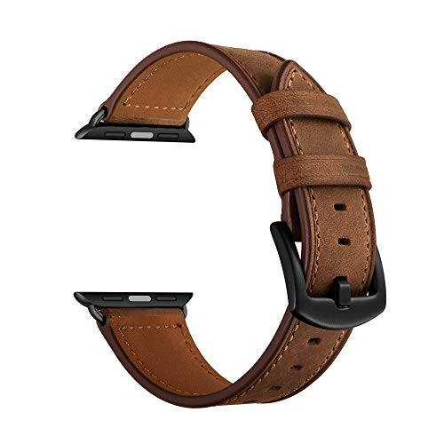 (CINORS Leather Band Compatible with Apple Watch Vintage Classical Bands Dark Brown Replacement Strap for iWatch Series 4 3 2 1 Nike Space Black Grey 42mm 44mm Men Women, Brown)