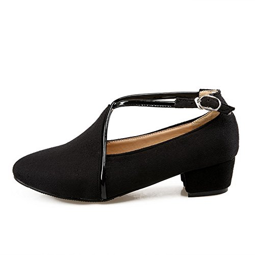 Closed Womens Buckle Suede Shoes Solid Imitated Toe Pointed Low Black AmoonyFashion Pumps Heels BUW1aW