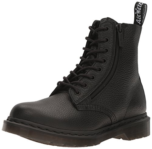 Dr. Martens Women's Pascal W/Zip Combat Boot, Black, 7 UK/9 M US