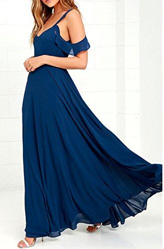 Rueckseite Abendkleid Schulter Chiffon Lange Offen Damen Blau Ab YOFgW11U