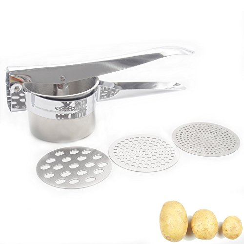 Potato Ricer, Large Sturdy Stainless Steel Potato Ricer and Masher, with 3 Interchangeable Discs, Vegetables Fruits Juicer Press Baby Food Strainer