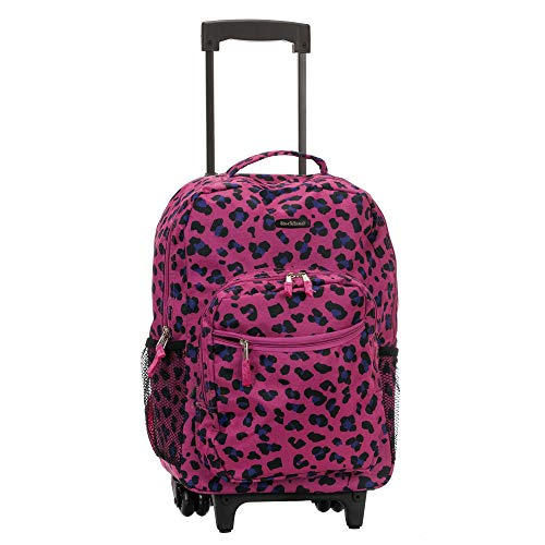 ROCKLAND 17 Inch Rolling Backpack, Magenta Leopard, One Size