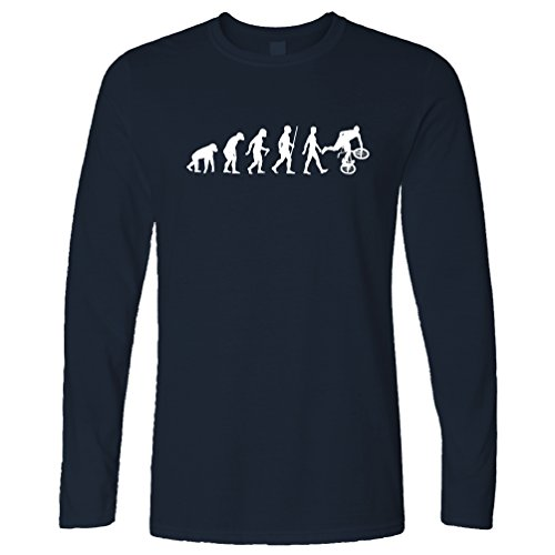 Tim And Ted Exrtreme Sports Long Sleeve Evolution of BMX Bike Dirt Navy Blue -