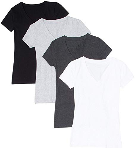 Used, 4 Pack Zenana Women's Basic V-Neck T-Shirts (White/Charcoal/Black/H for sale  Delivered anywhere in USA