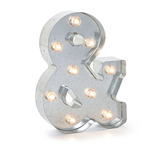 Darice Silver Metal Marquee Ampersand (&) – Industrial, Vintage Style Light Up Symbol Includes an On/Off Switch, Perfect for Events or Home Décor (5915-748) (Switch Symbol)
