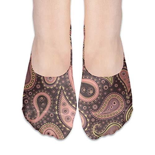Needlepoint Brown Paisley (No Show Socks Paisley Pink Marvellous Womens Low Cut Sock Loafers Invisible Socks for Girl)