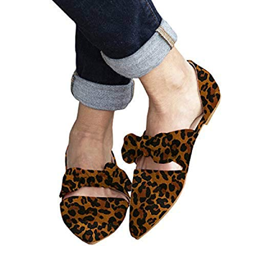 FISACE Womens Leopard Retro Mules Knot Bow Flat Sandals Pointed Toe Slip On Low Heel Dress Shoes