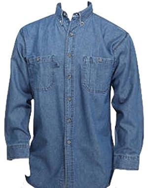 Blue Collar Outlet Denim Men's Long Sleeve Ultra Regular Style Button Front Shirt, Gusset Vents, Enzyme Wash