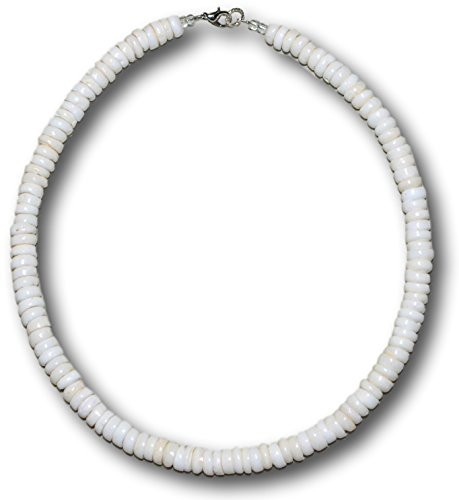 "Native Treasure - 18"" Genuine Royal White Puka Shell Necklace, Lobster Clasp - 8mm (5/16"")"