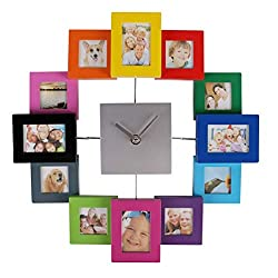 LONBUYS Wall Clock 12 Mini Photo Picture Art DIY Frame Modern Design Home Decor
