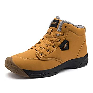 VANDIMI Hiking Boots for Men Waterproof Lace Up Ankle Booties Non Slip Outdoor Ridge Ledge Shoes Yellow Size: 8
