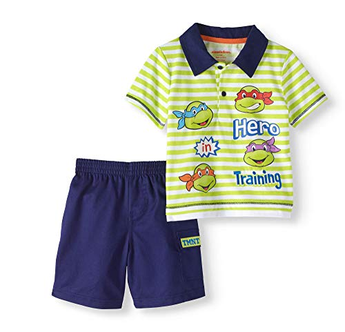 Baby Boys Ninja Turtles Hero in Training Short Sleeve Polo Shirt & Shorts 2 Piece Outfit (6-9 Months)]()