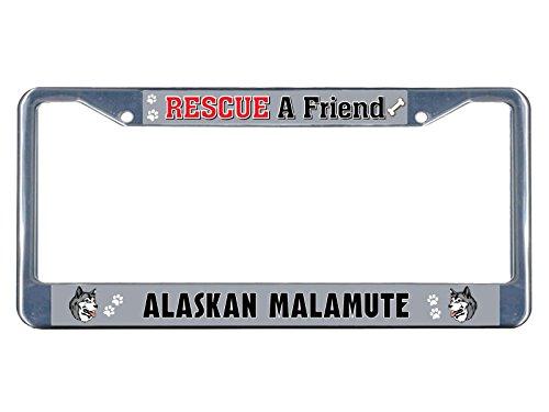 Rescue Knife Bravo (Alaskan Malamute Dog Rescue a Friend Chrome Metal License Plate Frame Tag Border Perfect for Men Women Car garadge Decor)