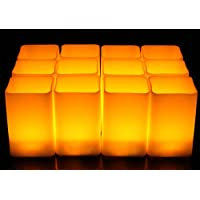 Amber Yellow Flicker Square Candle Set Of 12 Electric...