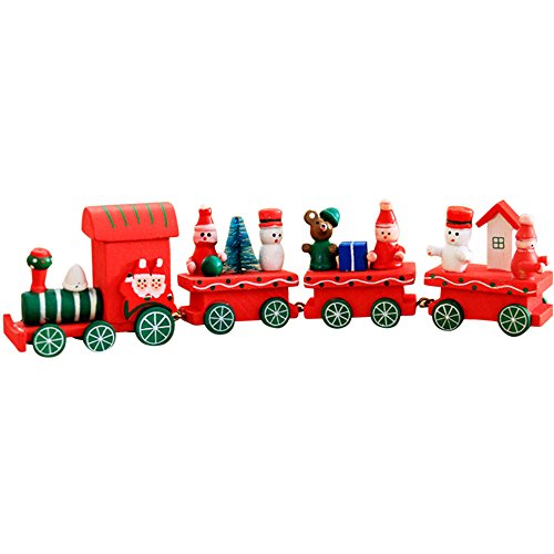 orations,Vibola Christmas Woods Small Train Classic Toy Train Children Kindergarten Festive Children's Party Decorations Decor Gift (B) ()