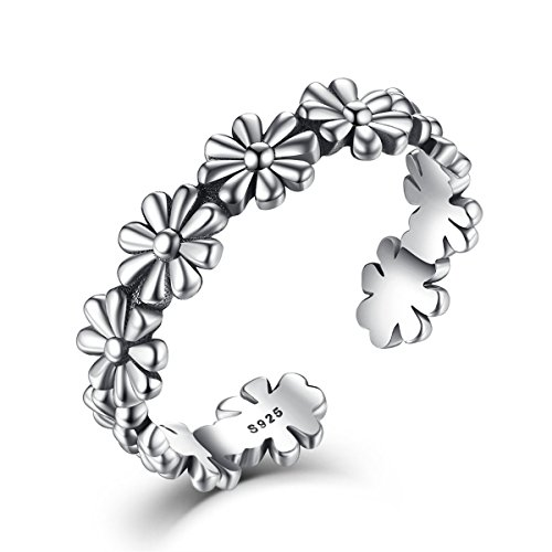 ble Ring,925 Sterling Silver Fashion Daisy Flower Open Ring Band, Fashion Jewelry Gift ()