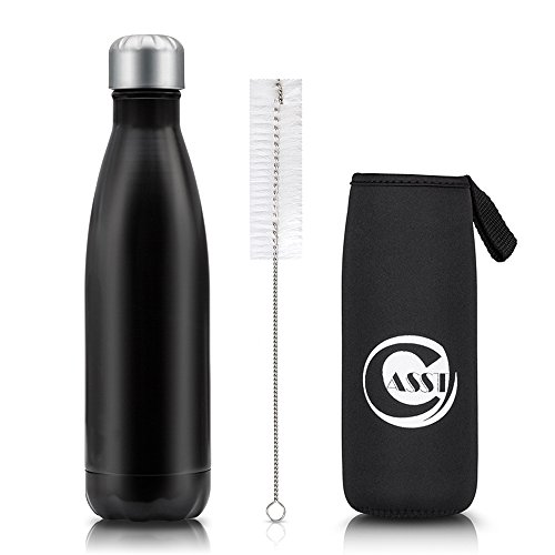Stainless Steel Water Bottle & Nylon Brush & Neoprene Cover Set, Vacuum Insulated Travel Water Bottle, 17oz Double Wall Water Cup By CASST