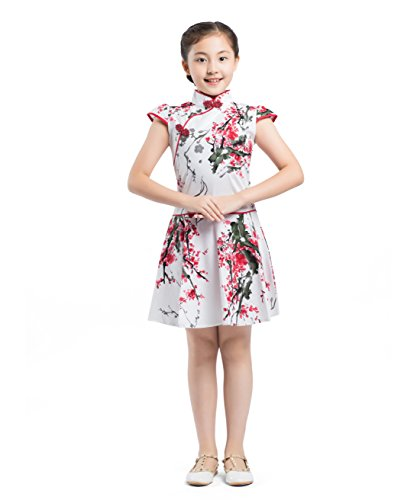 f542daa31326 Noir Cheongsam amp  Qipao Chinois Blanc Akaayuko Rouge Robe Filles  Traditionnel Costume Enfants YEqzf