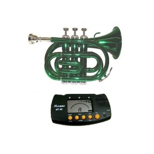 MERANO GREEN LACQUER POCKET TRUMPET WITH CASE + FREE METRO TUNER