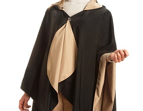 RainCaper Waterproof Rain Poncho for Women - Ultrasoft Reversible Fashion Colors (Black & Camel) Rain Rolls Right Off! (Gazebo Car Wash)