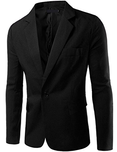 Porlox Mens Casual Peaked Lapel Slim Fit 1 Button Suit Blazer Black,US M / Label XXL ()