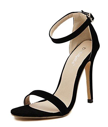 Aisun Donna Alla Moda Sexy Open Toe Con Talloni Rivestiti Con Fibbia Sandali Con Tacchi A Spillo Scarpe Con Cinturini Alla Caviglia Neri