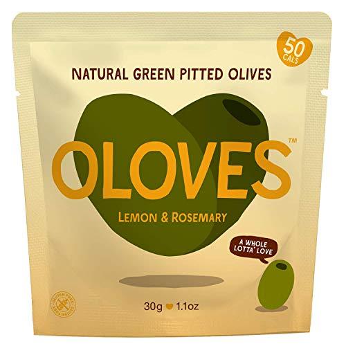 Oloves Lemon & Rosemary | Fresh Green Pitted Olives | All Natural | Healthy Snack | Vegan | Gluten Free | Kosher | Low Cal | 30 Pack (1.1oz ()