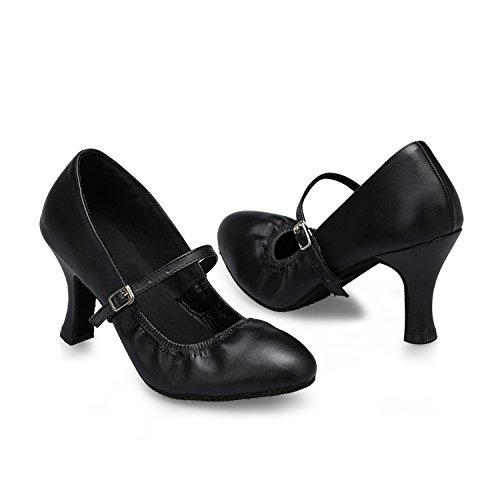Salsa 8cm Heel ShoesMY Ladies Dance Dance Jane Miyoopark Ballroom Mary Latin Black L142 Leather Y76agwq
