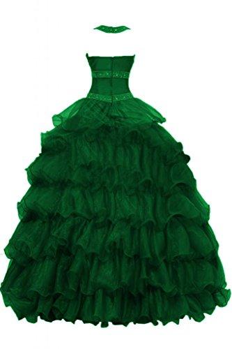 organza Fiesta una elegante Halter Prom Verde con quinceañera vestidos de suvary de pliegues línea CZxpHnqwnS