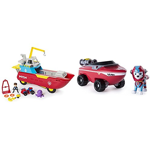 ller Transforming Vehicle with Lights and Sounds with Paw Patrol Marshall's Transforming Sea Patrol Vehicle Bundle ()