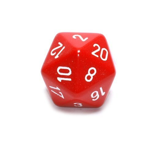 Jumbo d20 Counter - Opaque 34mm Dice: Red with White by Chessex